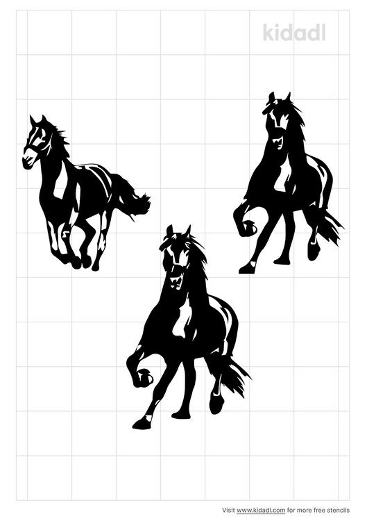 3-running-horses-stencil