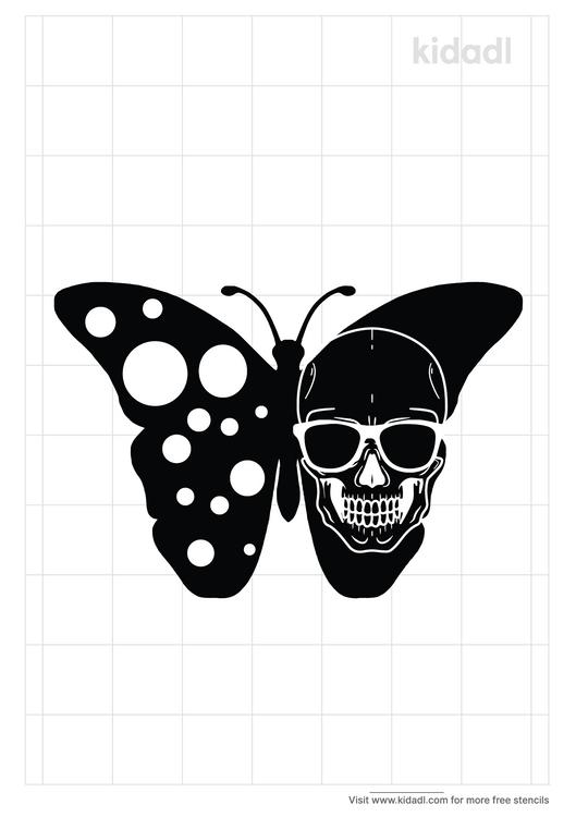 butterfly-skull-stencil