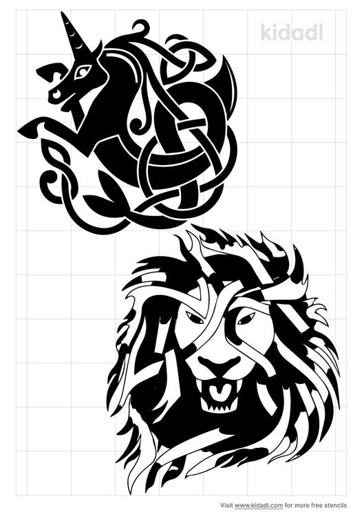 celtic-unicorn-and-lion-stencil
