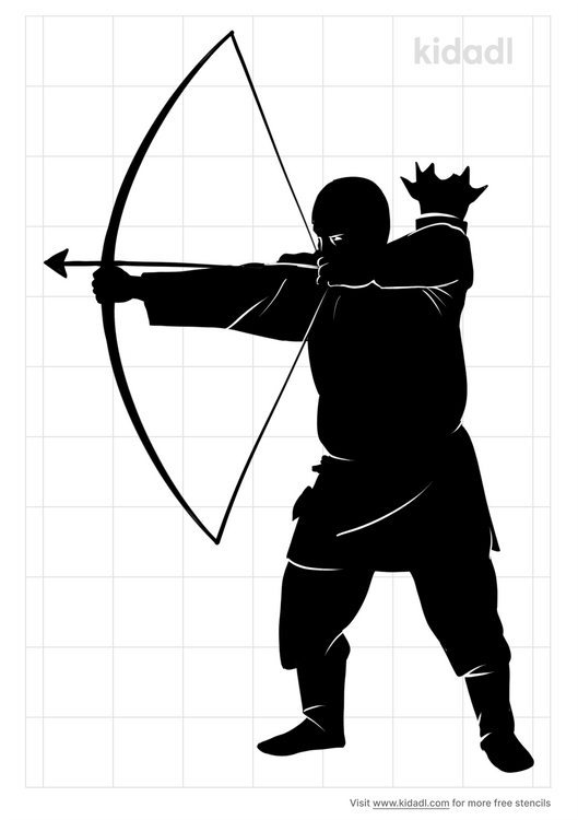 detailed-soldier-holding-a-bow-and-arrow-stencil