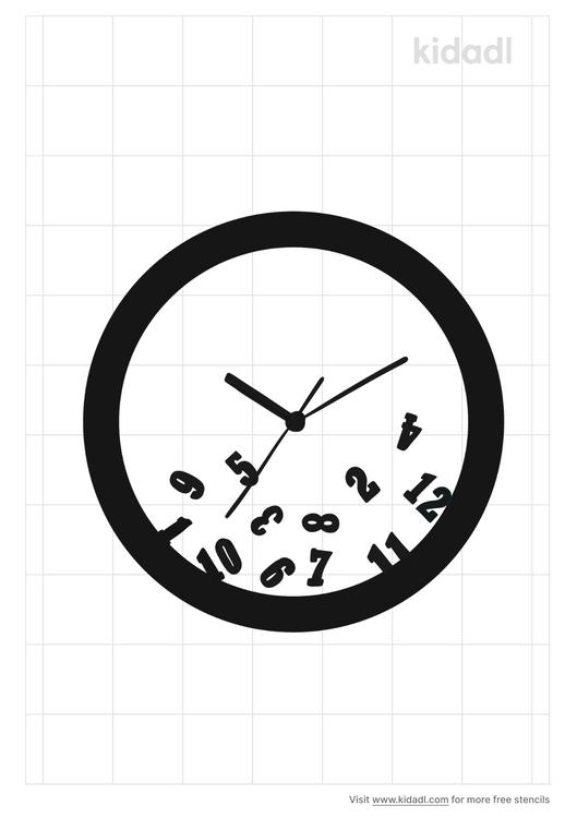 fallen-clock-numbers-stencil
