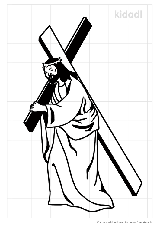 jesus-carrying-the-cross-stencil