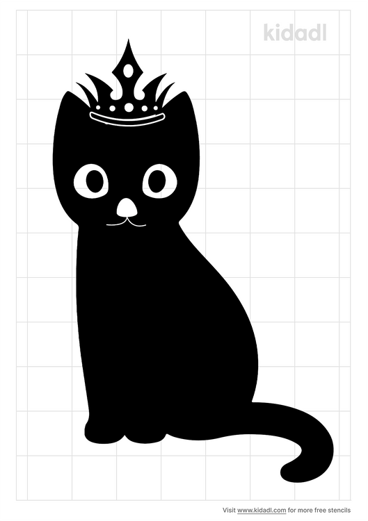 kitty-with-crown-stencil