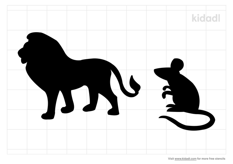 lion-and-mouse-stencil