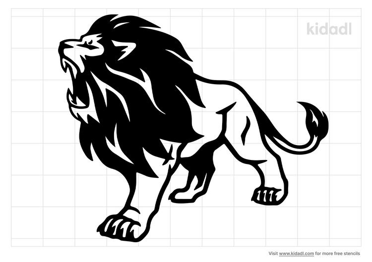 lion-roaring-stencil
