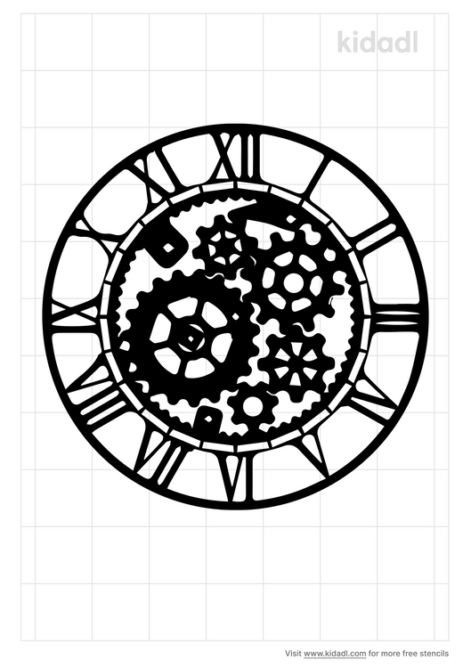 mechanical-clock-design-stencil