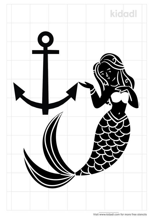 mermaid-and-anchor-stencil