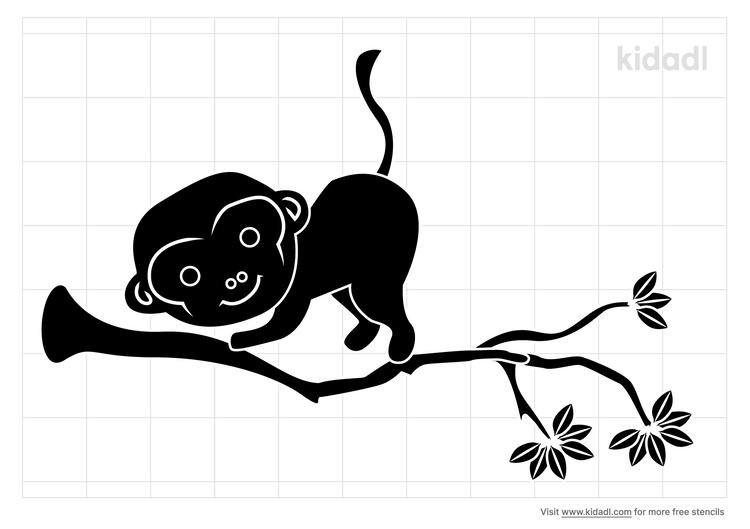 monkey-in-tree-stencil