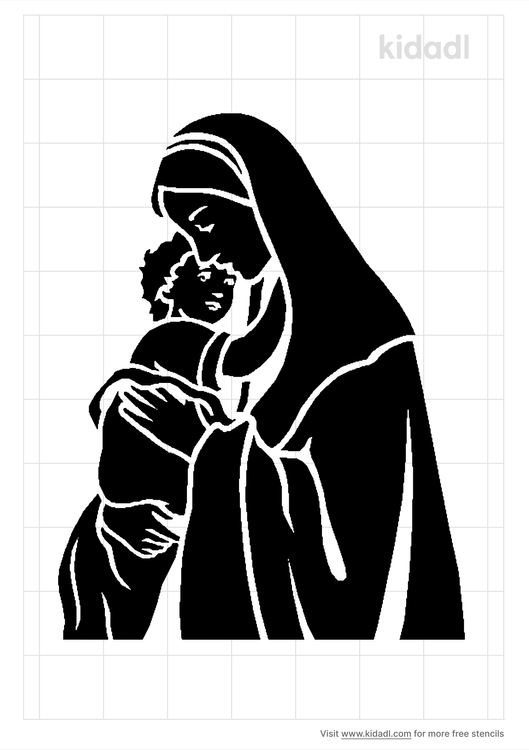 mother-mary-and-jesus-stencil