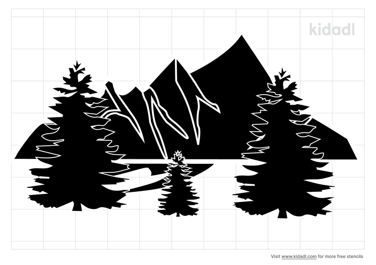 mountains-and-tree-simple-stencil