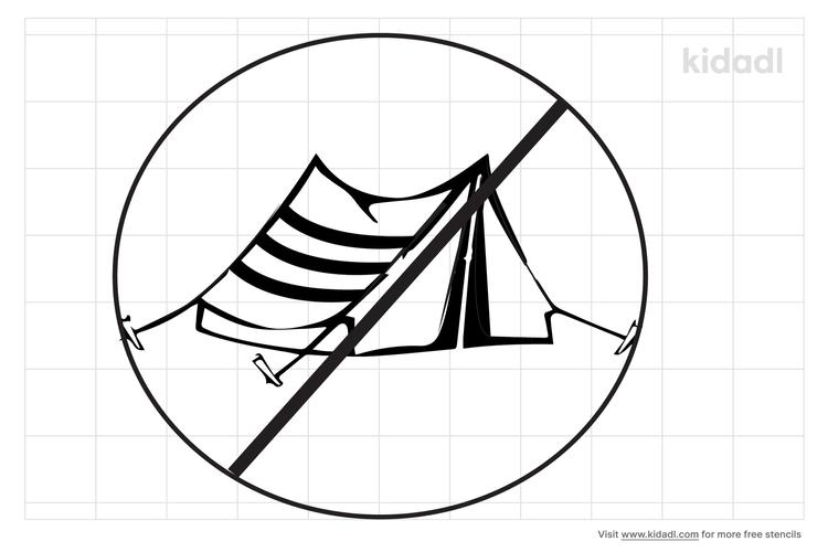 no-camping-stencil