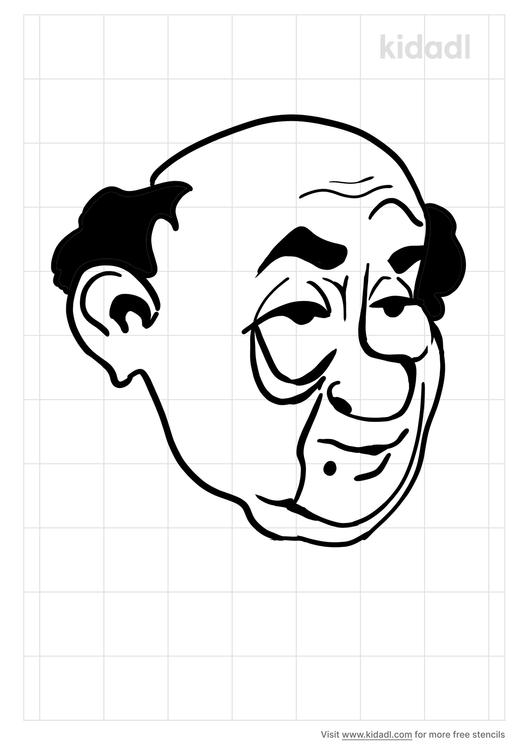 old-man-face-stencil