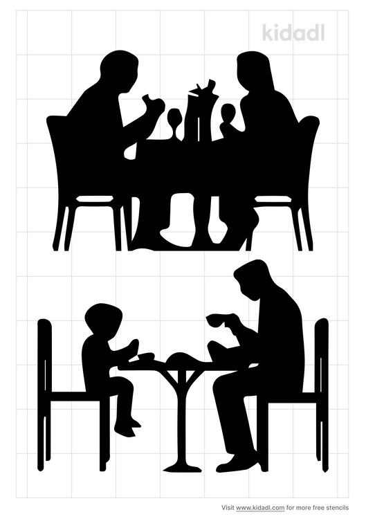 people-eating-food-stencil