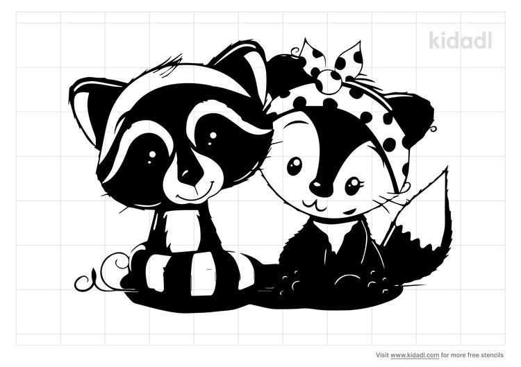 raccoon-and-fox-stencil