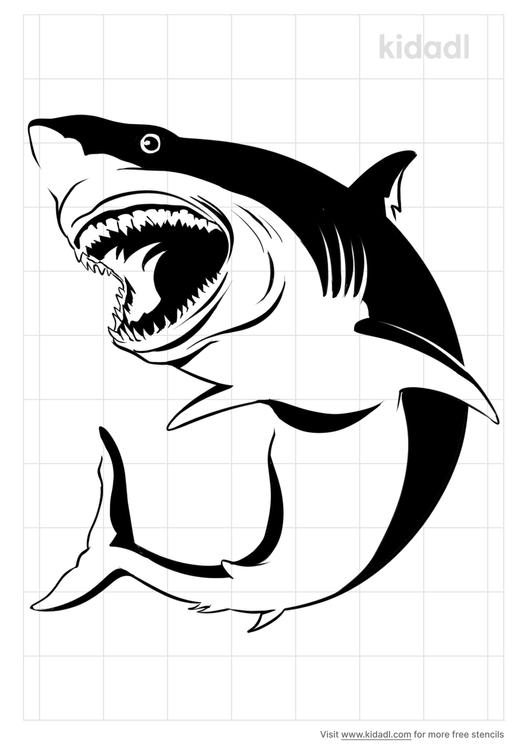 realistic-shark-stencil