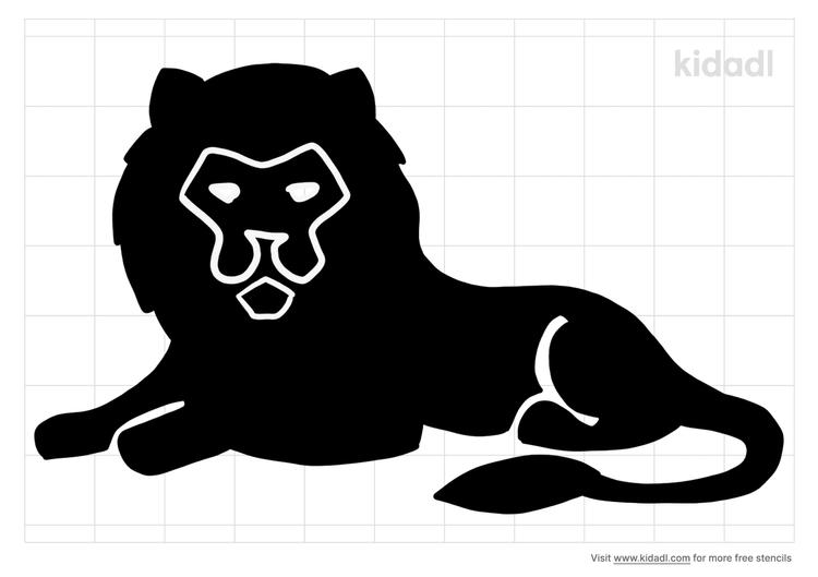 resting-lion-stencil