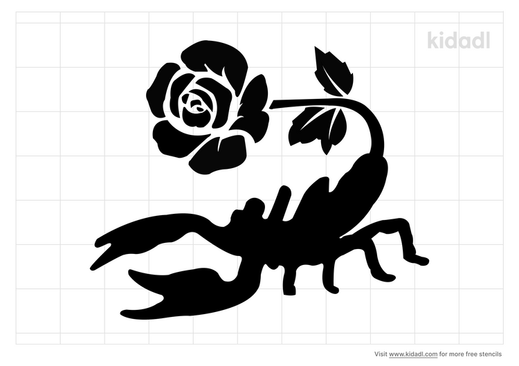 scorpion-with-a-rose-stencil