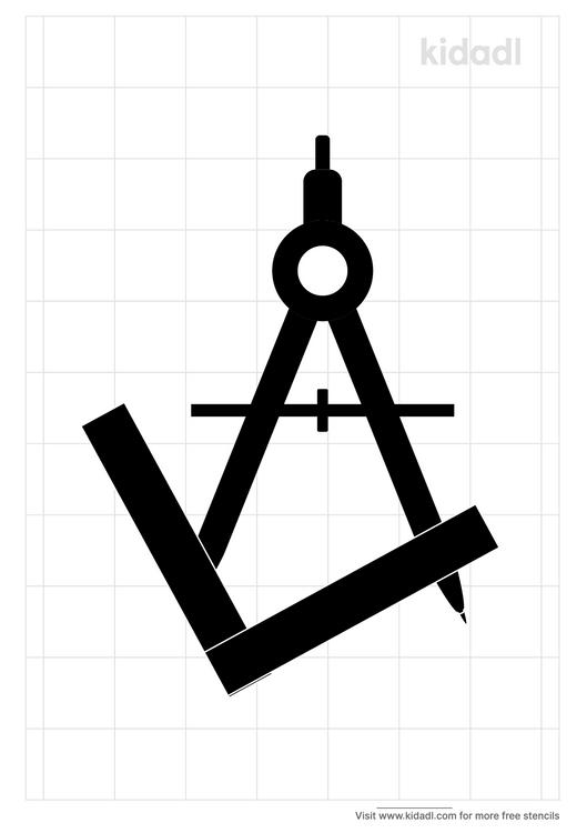 square-and-compass-stencil