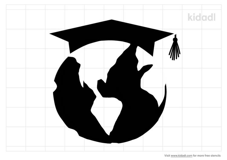 square-world-map-graduation-cap-stencil