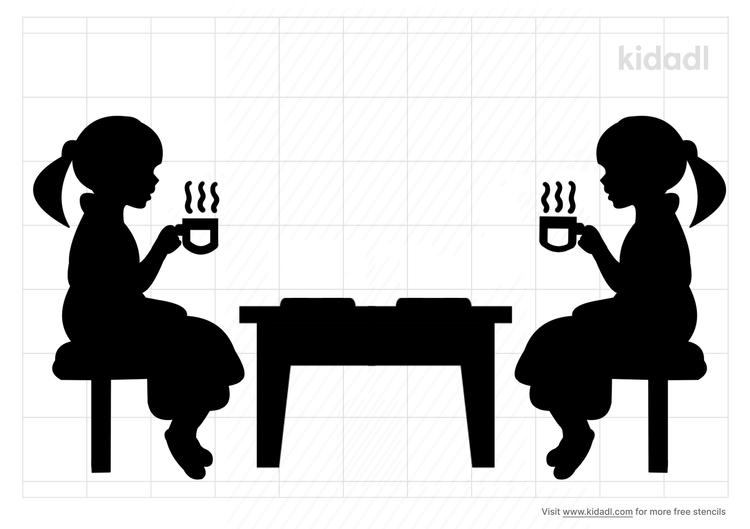 tea-party-stencil