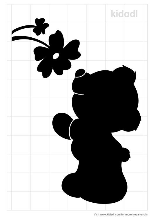 teddy-bear-smelling-flower-stencil
