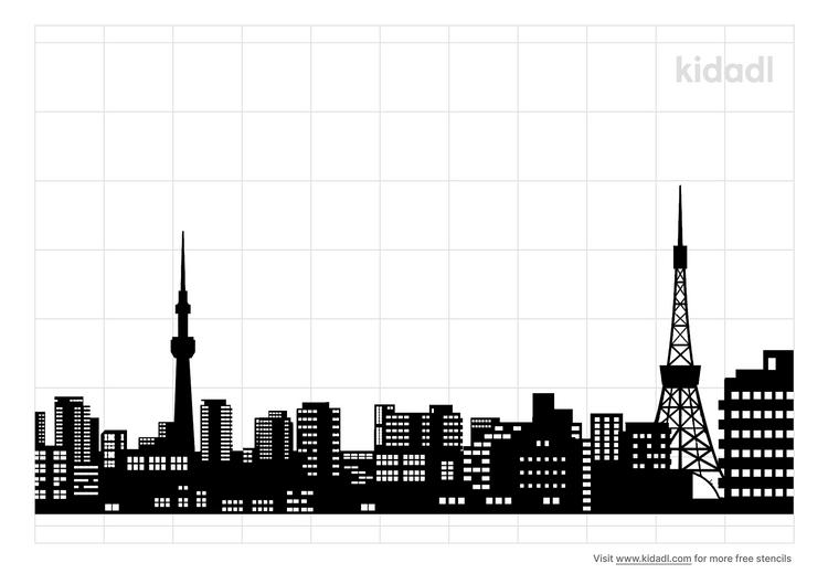 tokyo-skyline-stencil