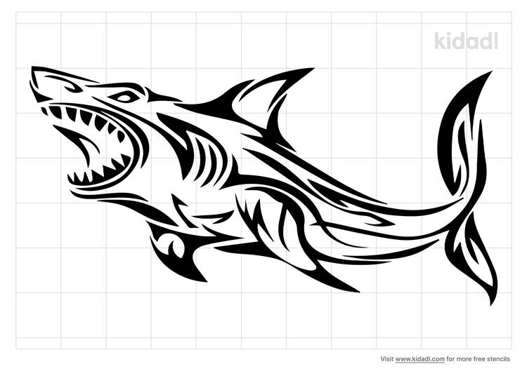 tribal-shark-stencil