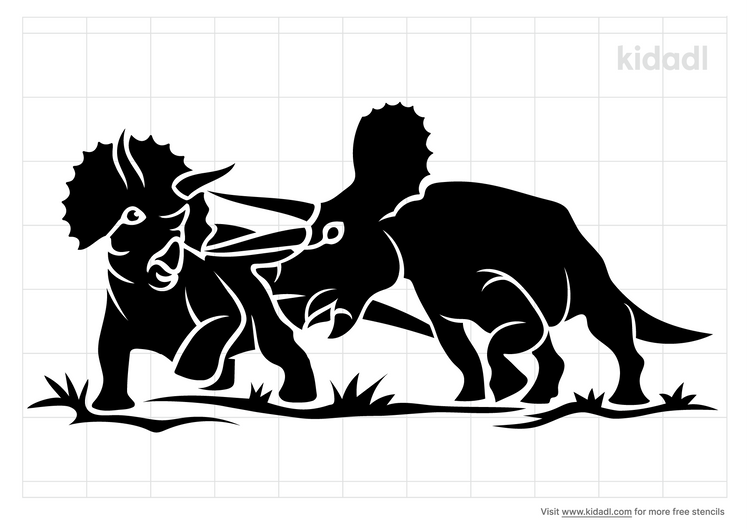 two-dinosaurs-fighting-stencil