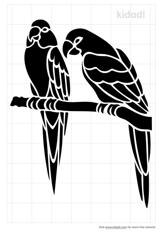 two-parrot-stencil