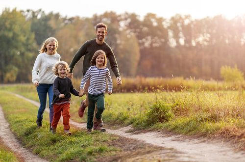 Family walking in the country.