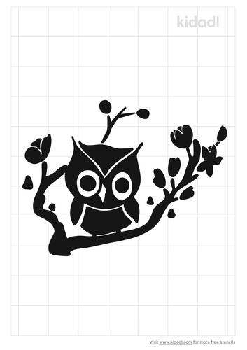 cherry-blosson-owl-stencil