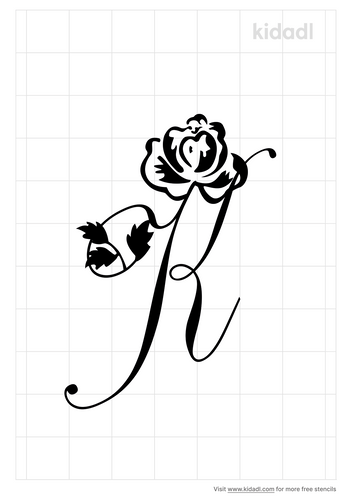 cursive-capital-letter-with-rose-stencil