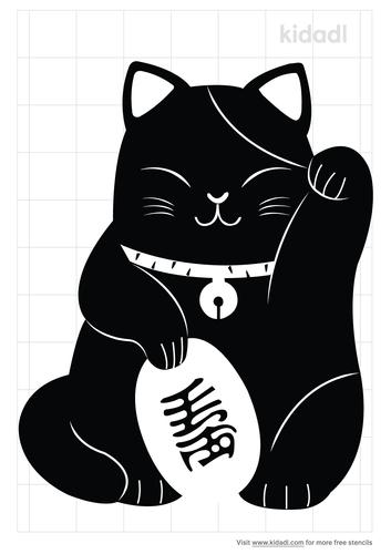 cute-lucky-cat-stencil