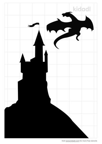 dragon-on-castle-stencil