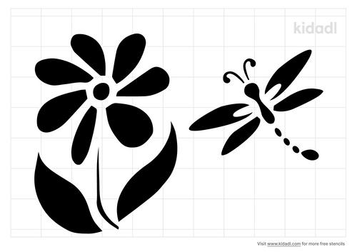 dragonfly-on-flower-stencil