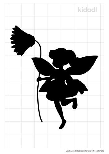 fairy-touching-flower-stencil