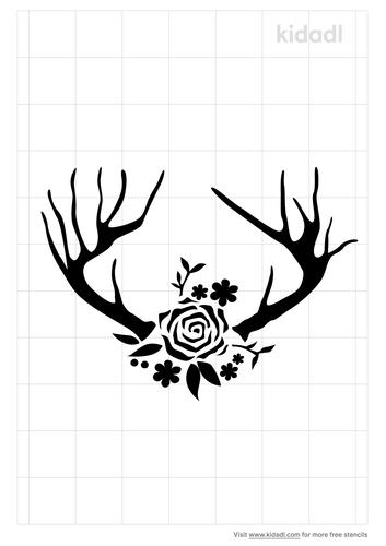 floral-deer-antler-stencil
