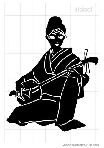 geisha-singing-stencil