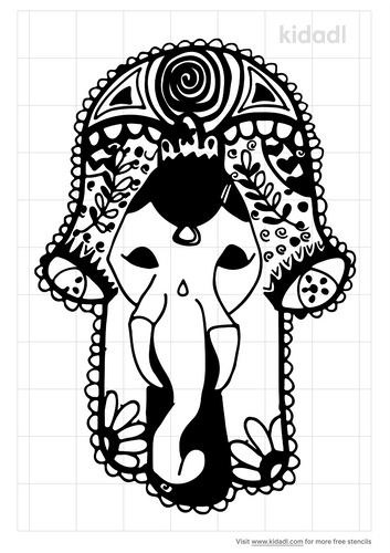 hamsa-elephant-stencil