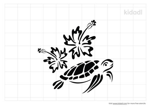 hawaiian-flower-and-turtle-stencil