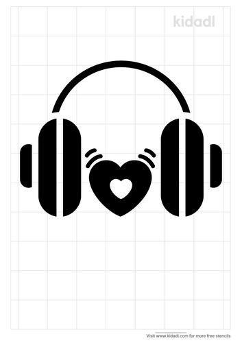 head-phone-heart-beat-stencil