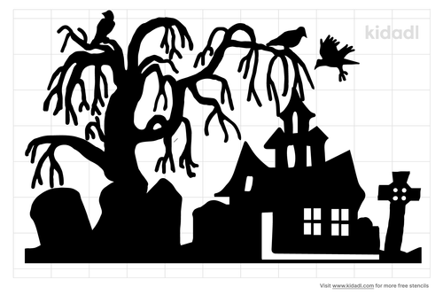 huanted-house-and-graveyard-stencil