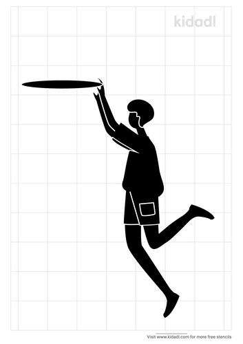 jumping-for-frisbee-stencil