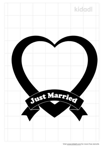just-married-heart-stencil