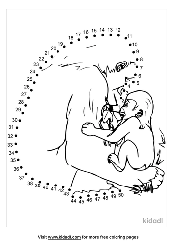 medium-gorilla-with-baby-dot-to-dot