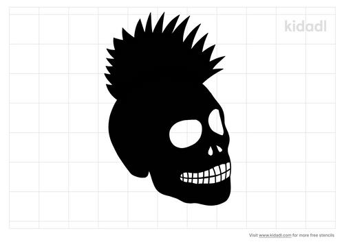 mohawk-skull-stencil
