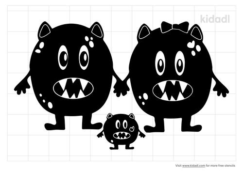 monster-family-stencil