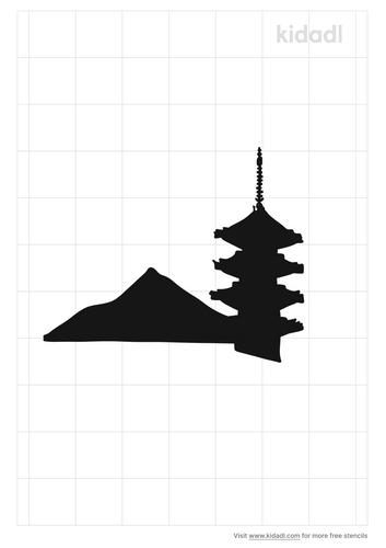 mount-fuji-temple-stencil