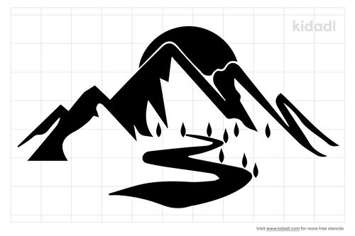 mountain-range-and-lake-stream-stencils
