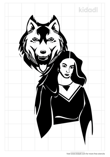 native-american-woman-with-wolves-stencil